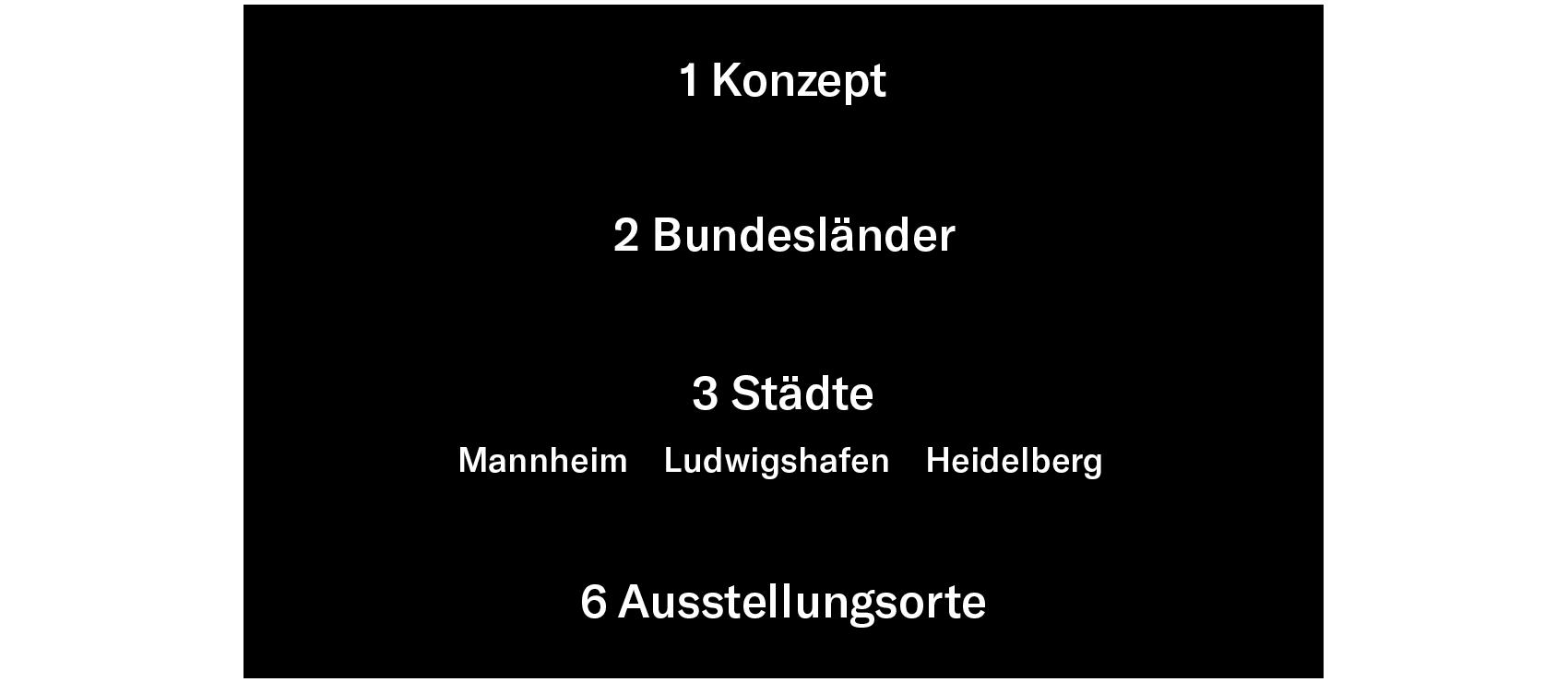 Die Grafik beschreibt die Struktur der Biennale für aktuelle Fotografie: ein Konzept, das in zwei Bundesländern, in den drei Städten Mannheim, Ludwigshafen und Heidelberg und in sechs Ausstellungsorten umgesetzt wird.